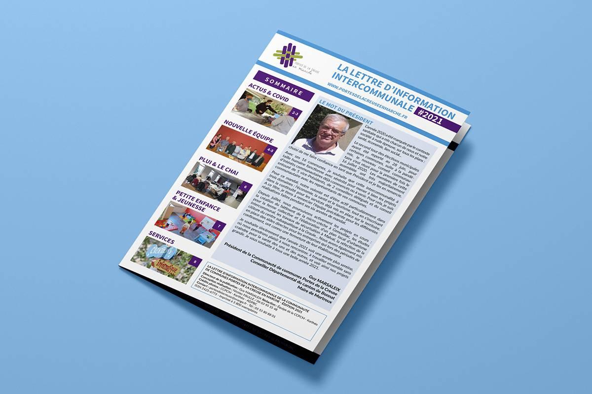 Conception de la lettre d'information intercommunale annuelle de la Communauté de Communes Portes de la Creuse en Marche